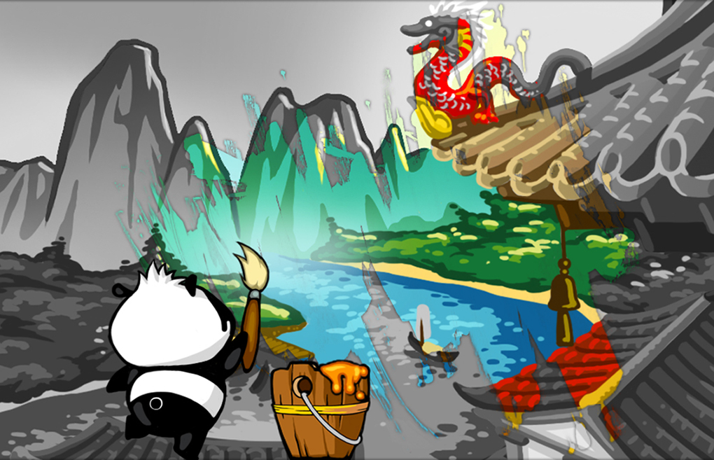 Grafica digitale / game art dell'App Black & White Life Brain sharp panda puzzle - Storyboard