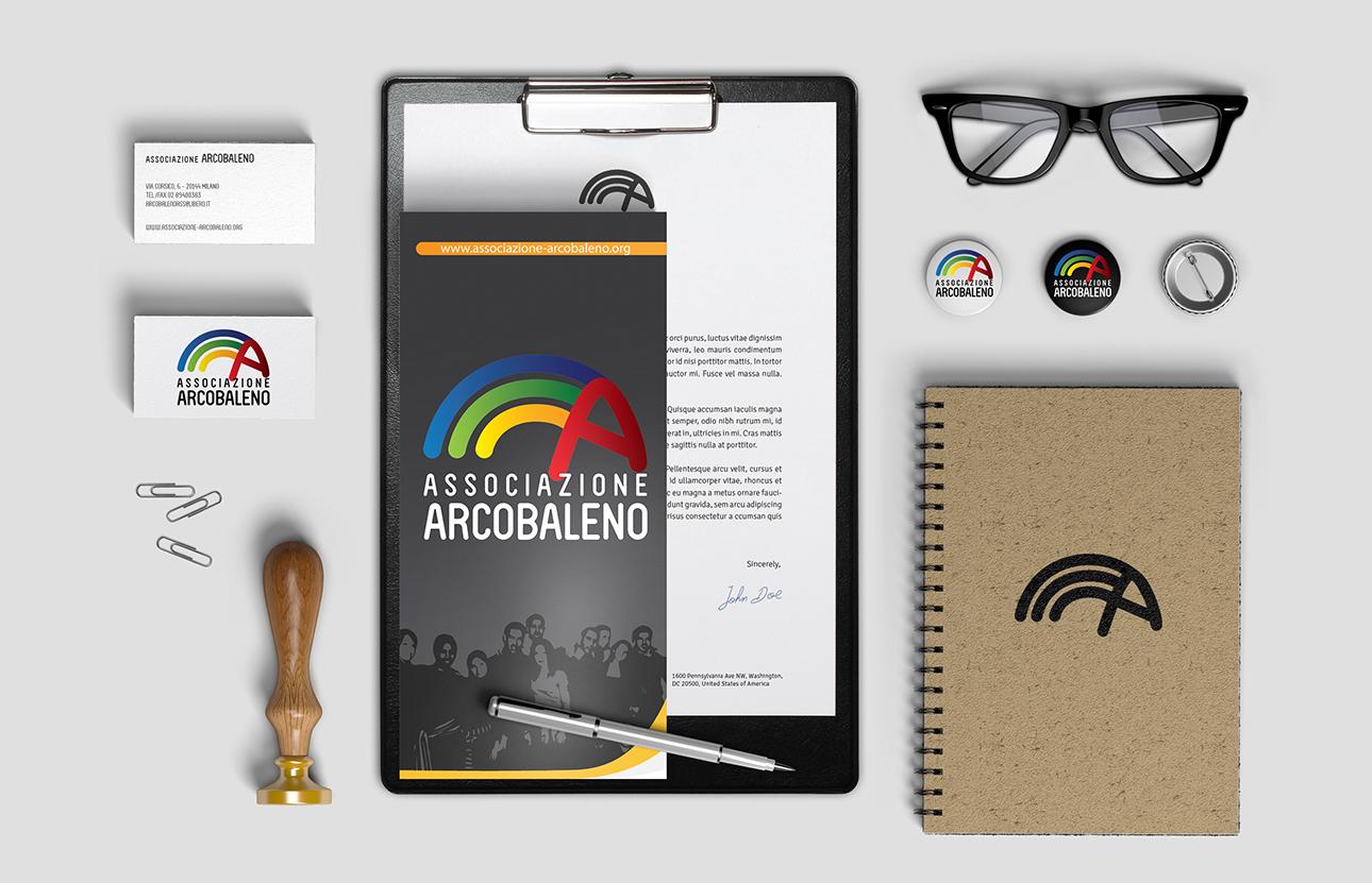 Grafica Brand identity, logo, immagine coordinata Associazione Arcobaleno