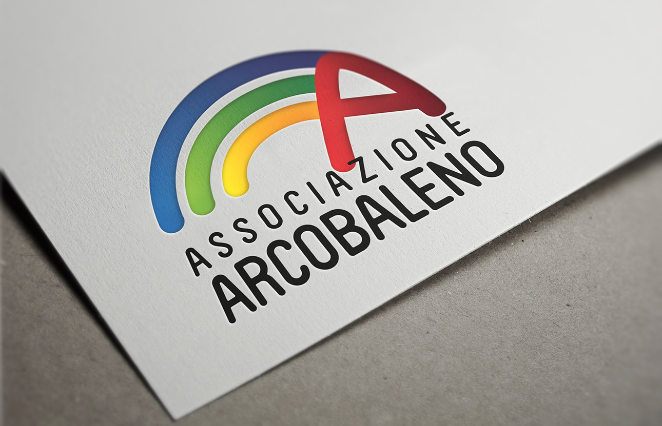 Grafica logo, immagine coordinata Associazione Arcobaleno