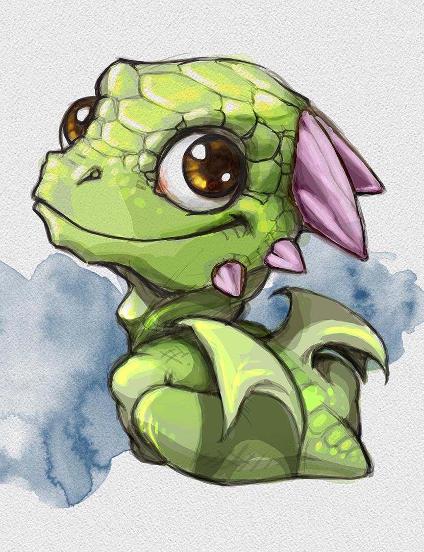 Illustrazione digitale, artwork, per libri e giochi di ruolo, progettazione personaggi fantastici - Cute little Dragon