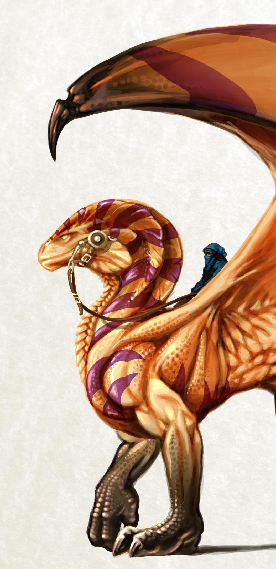 Illustrazione digitale, artwork, per libri e giochi di ruolo, progettazione personaggi fantastici - Desert Dragon