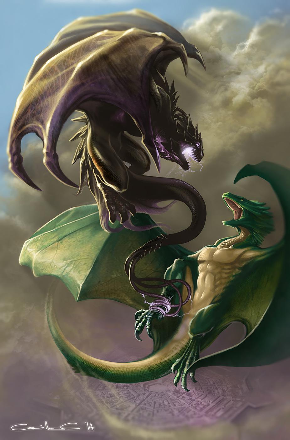 Illustrazione digitale, artwork, per libri e giochi di ruolo, progettazione personaggi fantastici - Dragon sky battle
