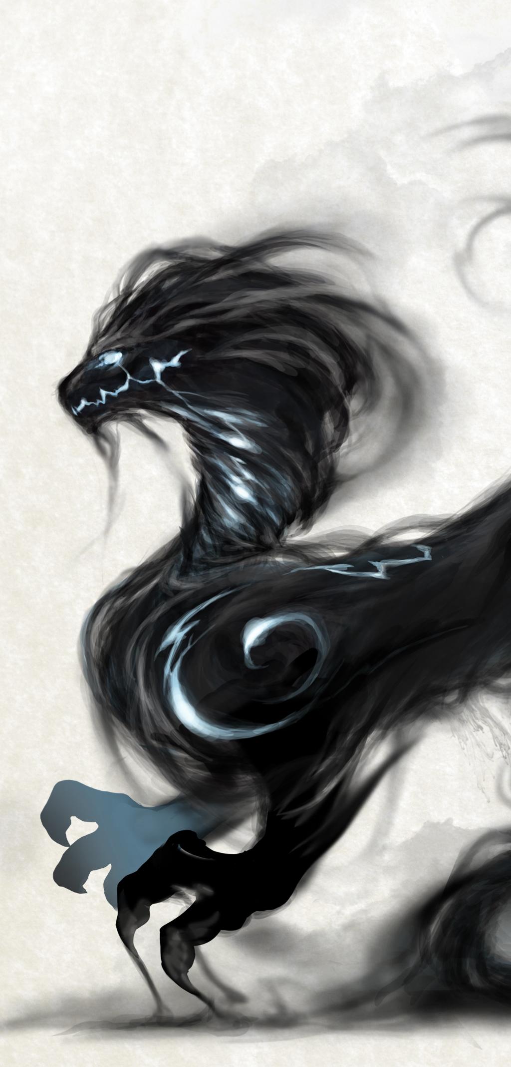 Illustrazione digitale, artwork, per libri e giochi di ruolo, progettazione personaggi fantastici - Smoke Dragon