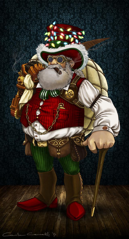 Illustrazione digitale, artwork, per libri e giochi di ruolo, progettazione personaggi - Steampunk Santa