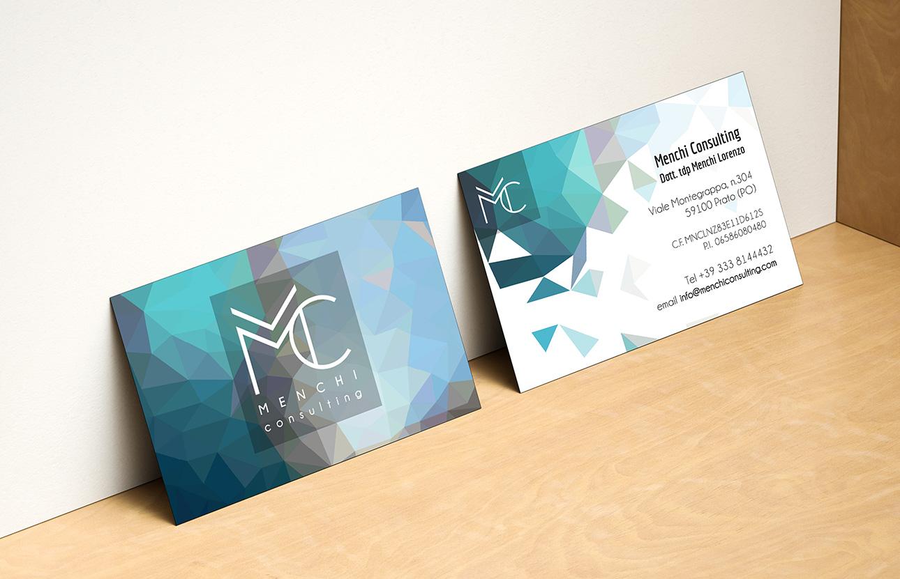 Grafica Brand identity, logo, immagine coordinata Menchi Consulting