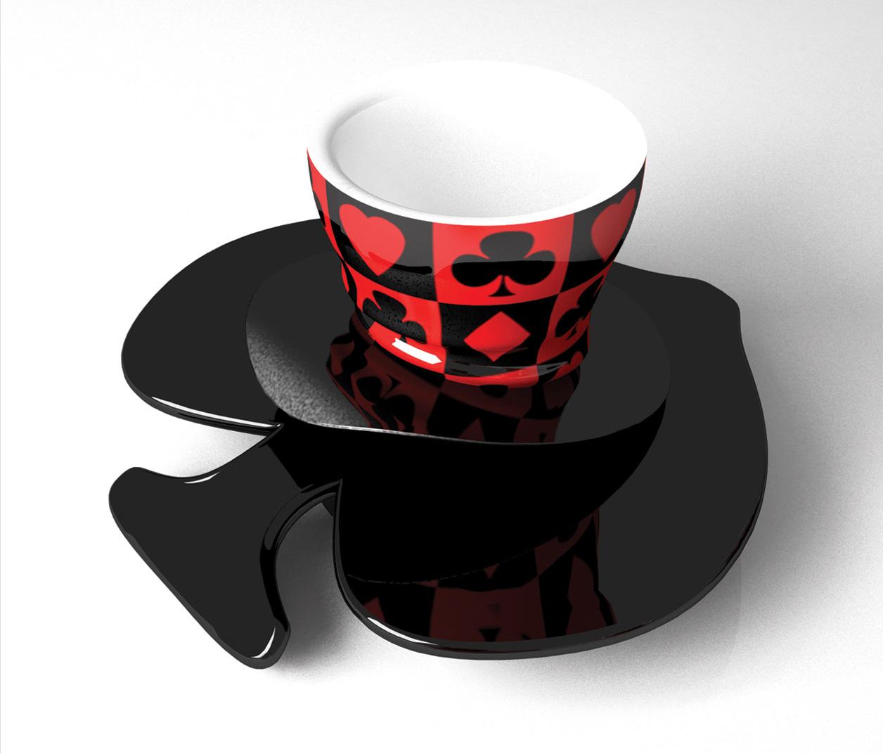 Product design set tazzine da caffè Mad Hatter - progettazione, modellazione 3D e rendering