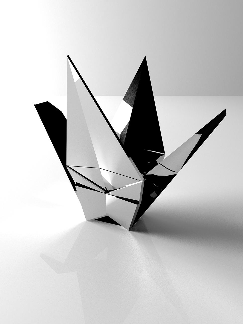 Product design rubinetterie Origami - progettazione, modellazione 3D e rendering