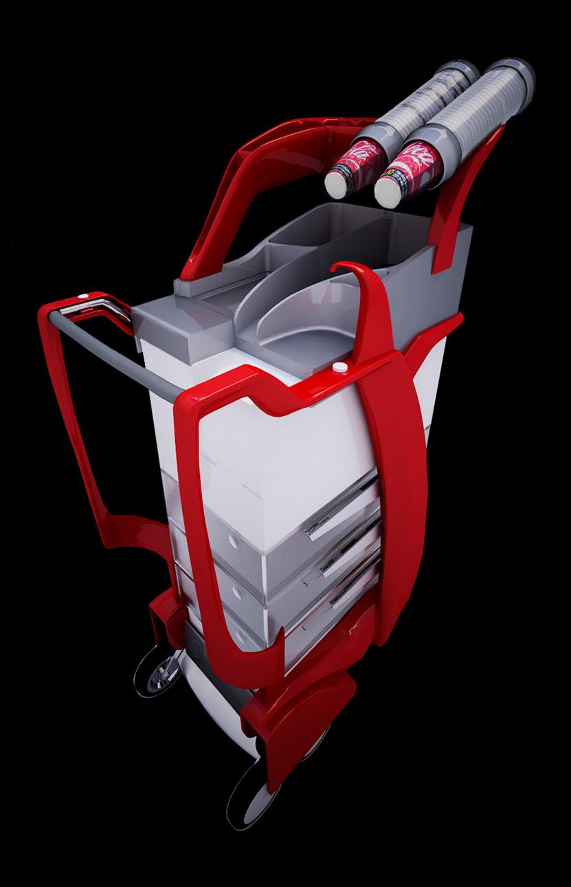 Product design carrello per servizio ristorante a bordo treno Smart Trolley - progettazione, modellazione 3D e rendering