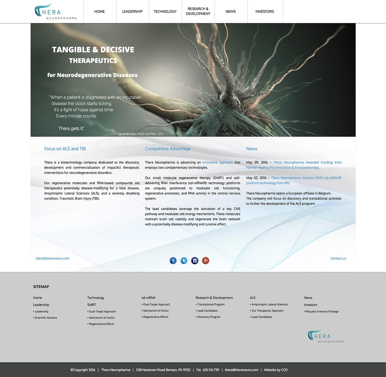 Web design e web develop Thera Neuropharma - progettazione e sviluppo di un sito web a layout responsive