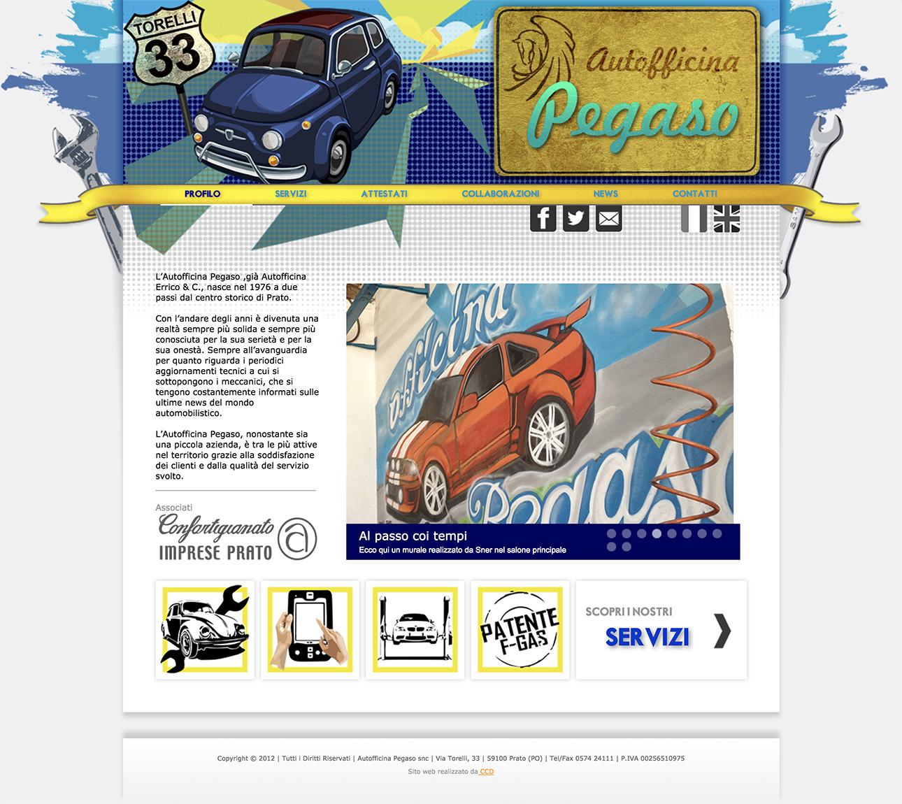 Web design e web develop Autofficina Pegaso - progettazione e sviluppo di un sito web a layout statico
