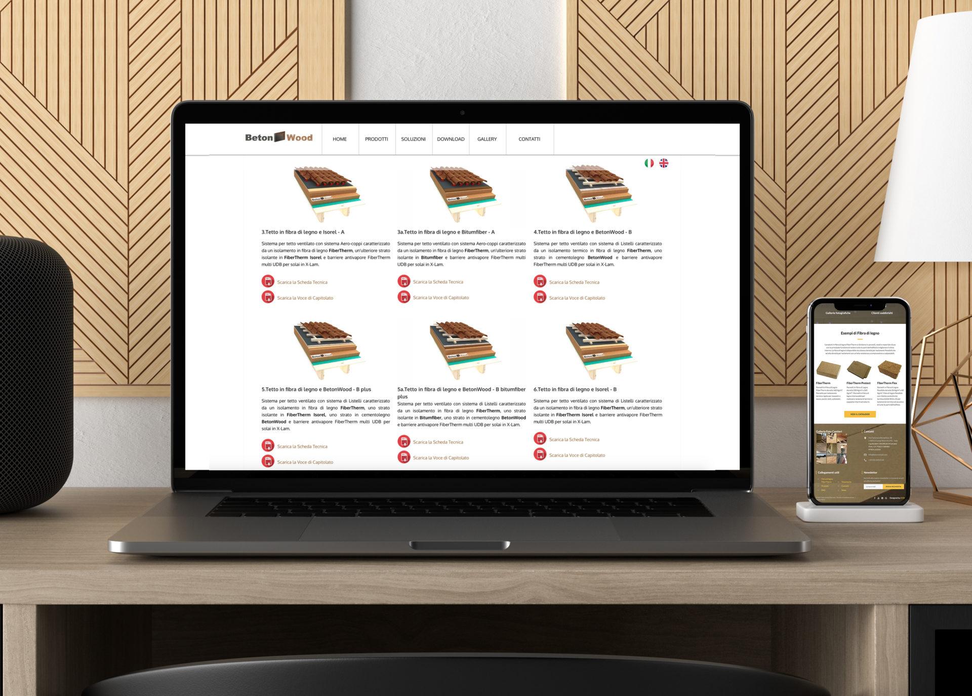 Web design e web develop BetonWood - progettazione e sviluppo di un sito web a layout responsive