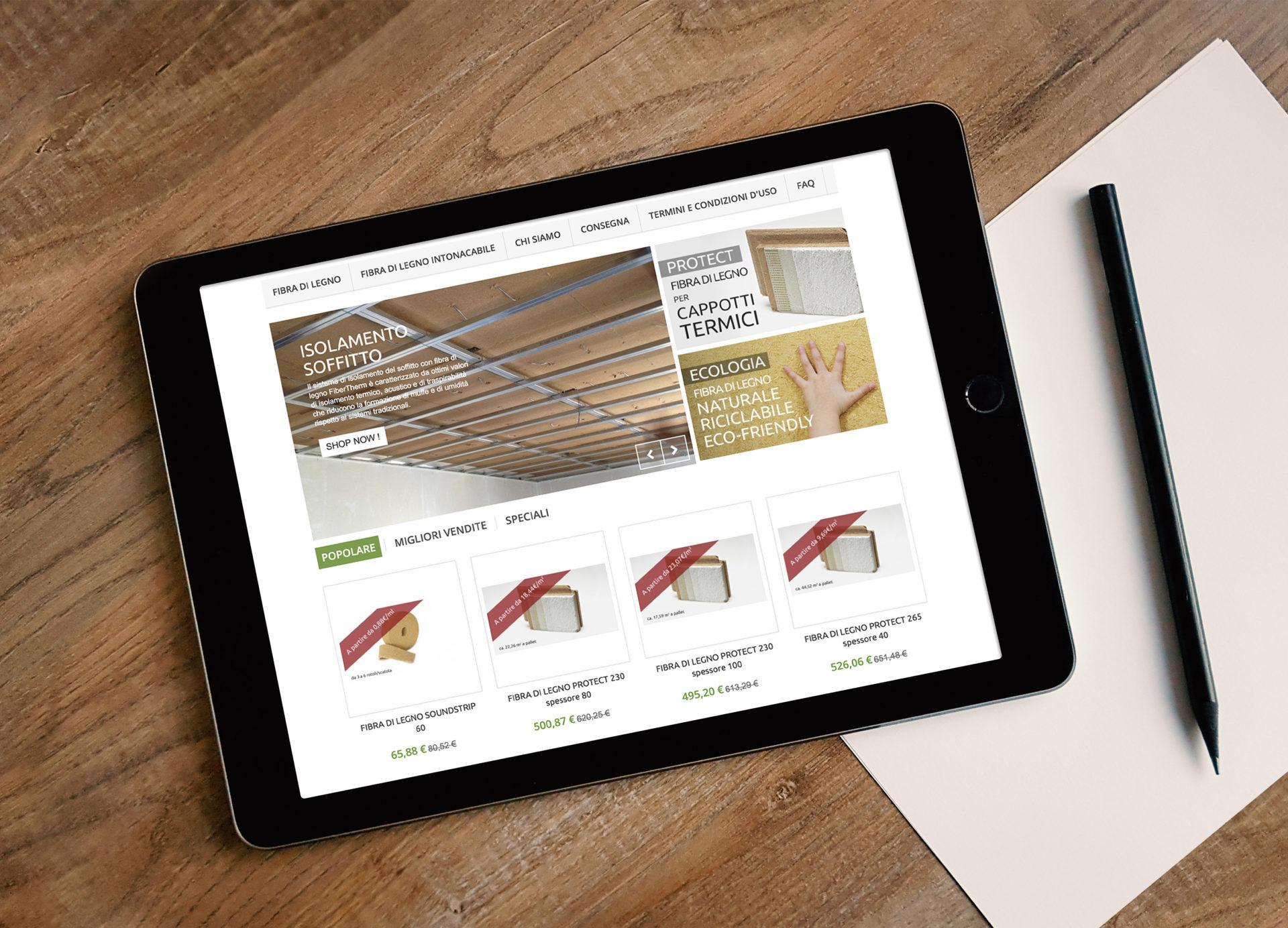 Web design e web develop e-commerce Fibra di legno shop - progettazione e sviluppo di un sito web ecommerce a layout responsive