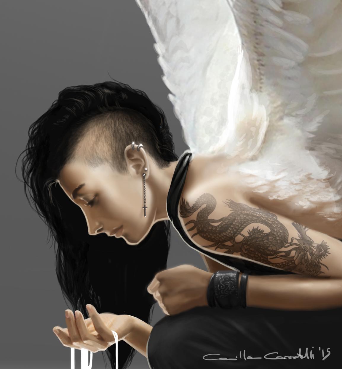 Illustrazione digitale, artwork, per libri e giochi di ruolo, progettazione personaggi fantastici - Dark angel